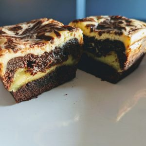 Mango Cheesecake Mochi Brownies